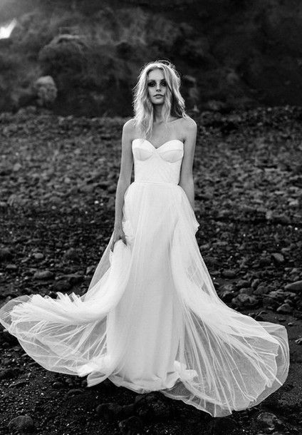 Dress: wedding dress, bustier dress, bustier wedding dress, white dress, sheer skirt, sheer dress white, strapless dress, long dress - Wheretoget