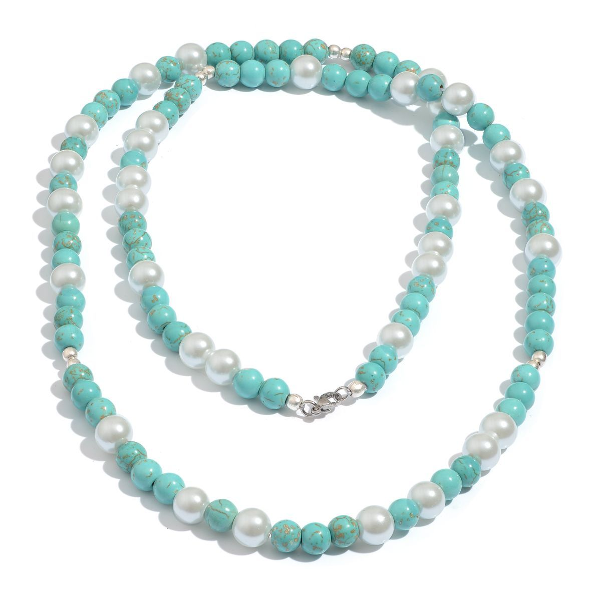 Blue Howlite, Glass Pearl Necklace (36 in) in Silvertone TGW 156.80 cts.