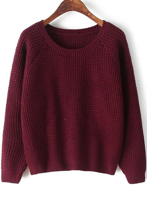 Shop Wine Red Round Neck Long Sleeve Chunky Sweater online ...