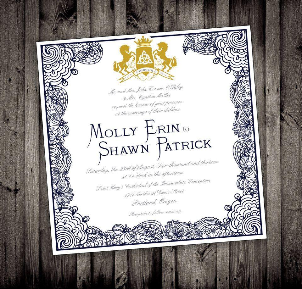 Celtic irish royal elegant wedding invitations via etsy