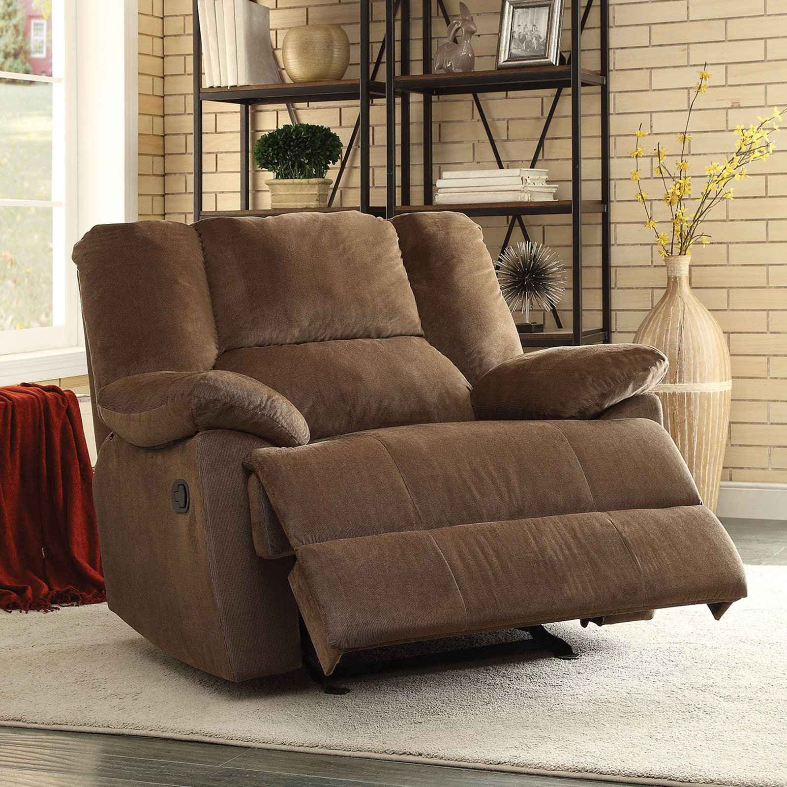 Swell Acme Furniture Oliver Fabric Glider Recliner Chocolate In Gmtry Best Dining Table And Chair Ideas Images Gmtryco