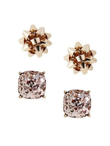 ba336b599 olive + piper Glitter Bow Stud Earring Duo. Rock around the Christmas tree  with these colorful stud earring duos! Our holiday fav present bow studs  mixed in ...