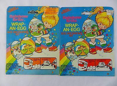 2NEW Vintage Rainbow Brite Wrap-an-Egg Easter Decorating Kit Hallmark Cards 1983