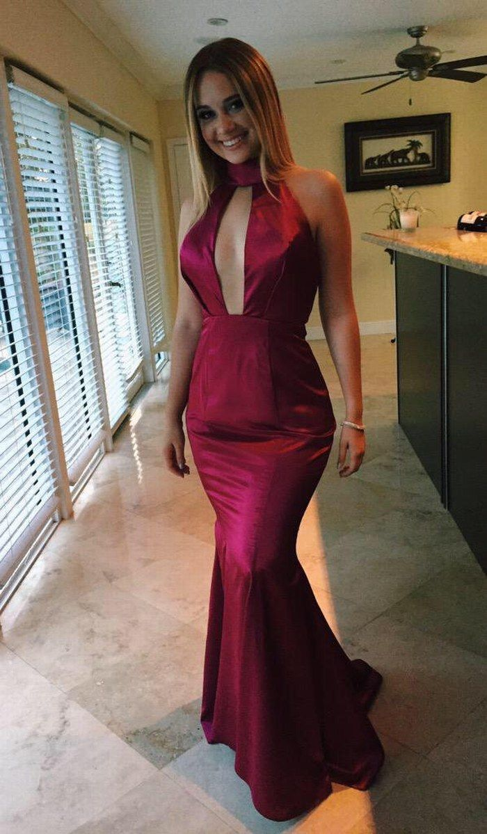 Burgundy prom dressmermaid prom dresslong prom dresssexy evening