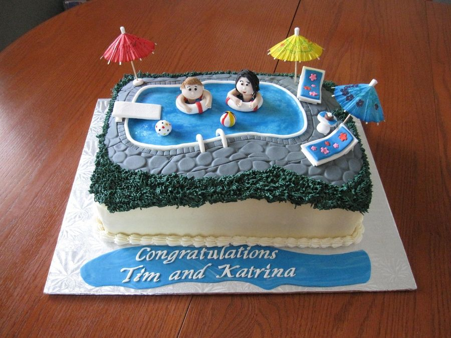 A Cake For A Wedding Rehearsal Backyard Pool Party The Bride And Groom Are Floating In The Pool
