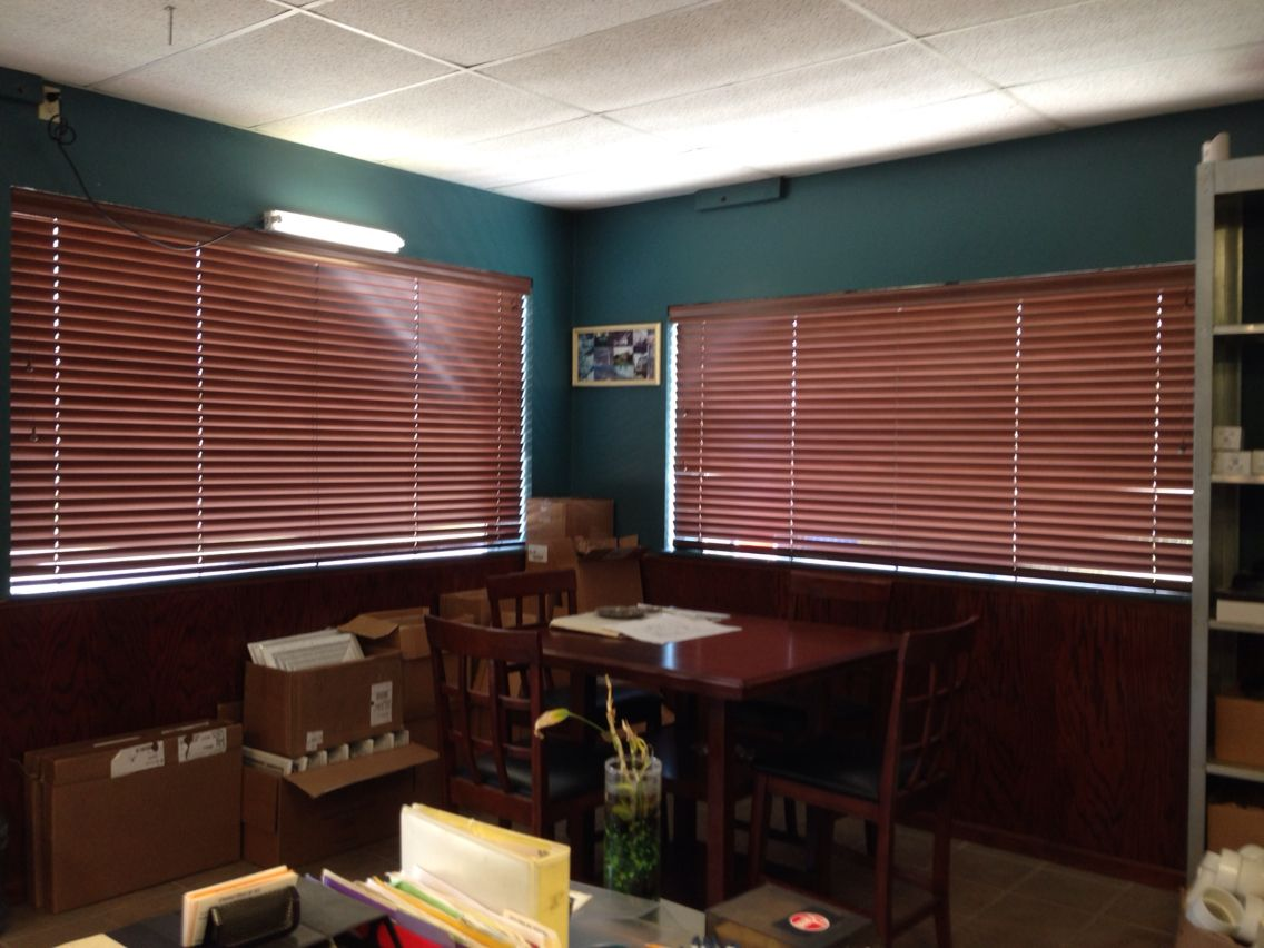 New blinds here at Central Heat & Air of Cushing. We got them from  Kirtz Shutters in Stillwater,OK. I love them.