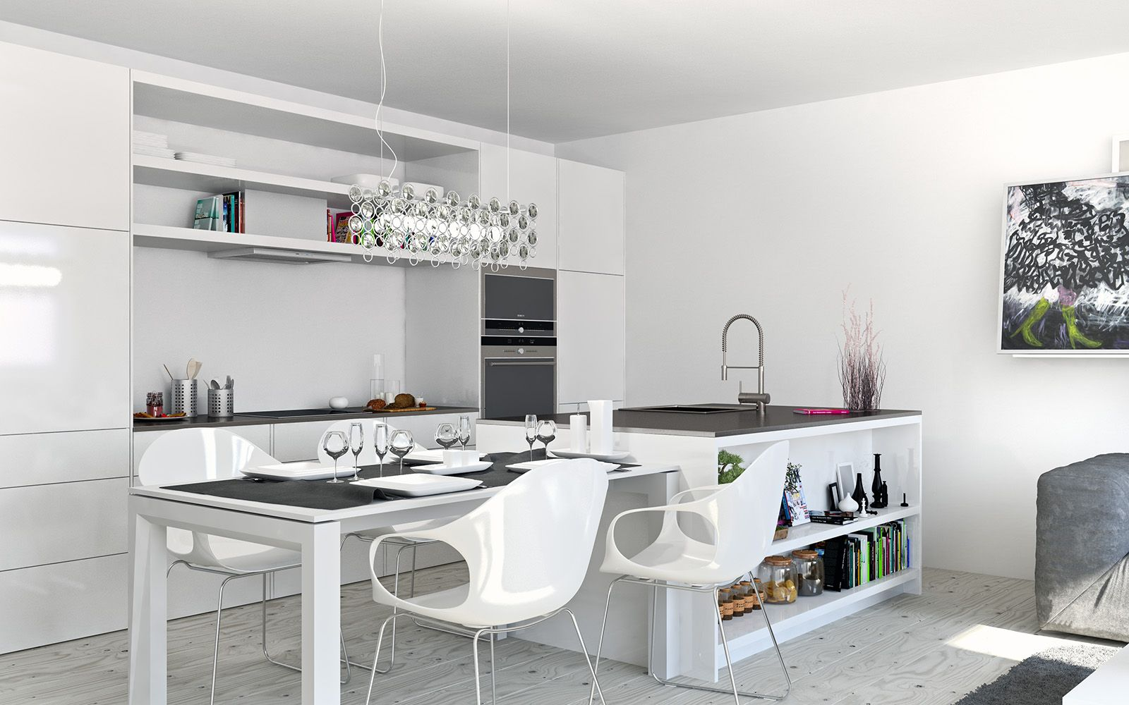 Interior Ideas of the White Scheme Dining Room and Kitchen for ...