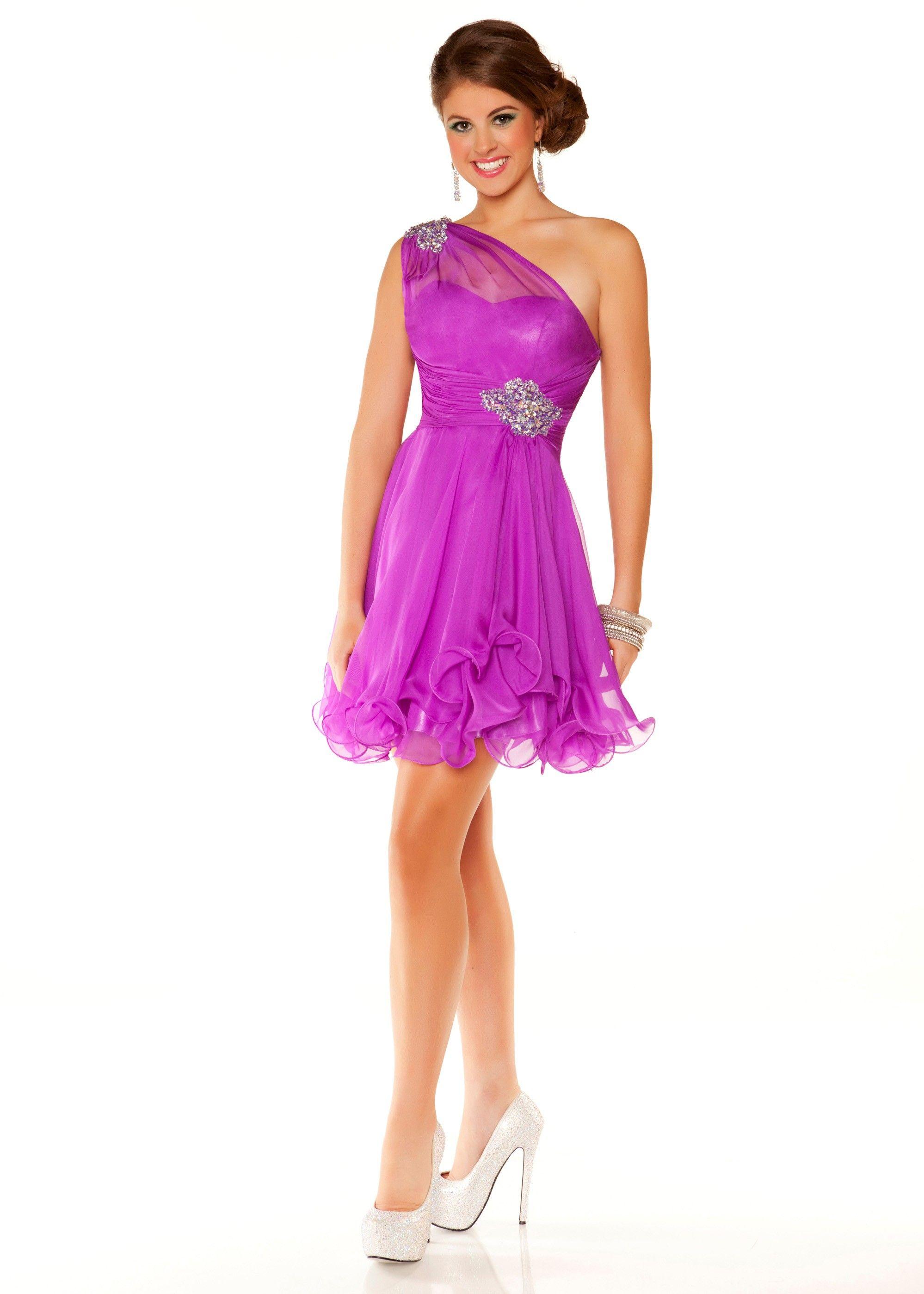 Mac Duggal 81703N - Violet One Shoulder Dress - RissyRoos.com | My ...