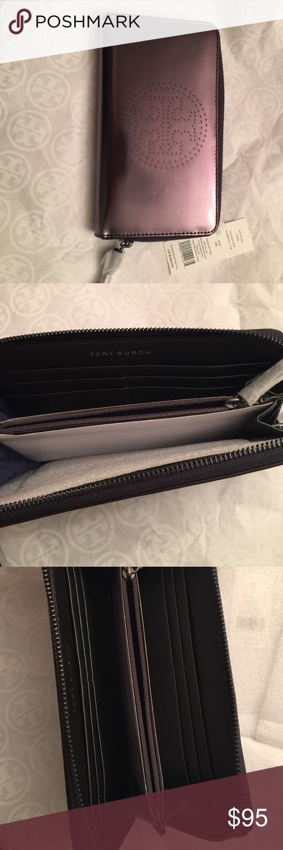 Tory BURCH wallet Metallic gunmetal continental wallet 8 card slots inside zipper compartment and 2 more slots for other items. Tory Burch Bags Wallets