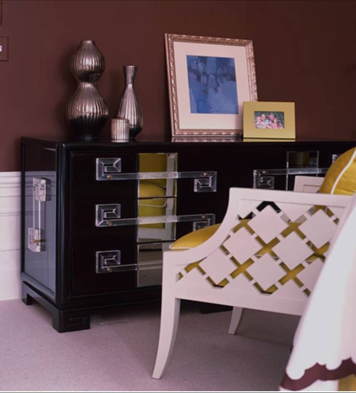 [bedroom+chocolate+brown+yellow+mustard+white+bed+detail+white+carved+armchair+yellow+cushions+black+lacquer+mirror+dresser+lucite+pulls.jpg]