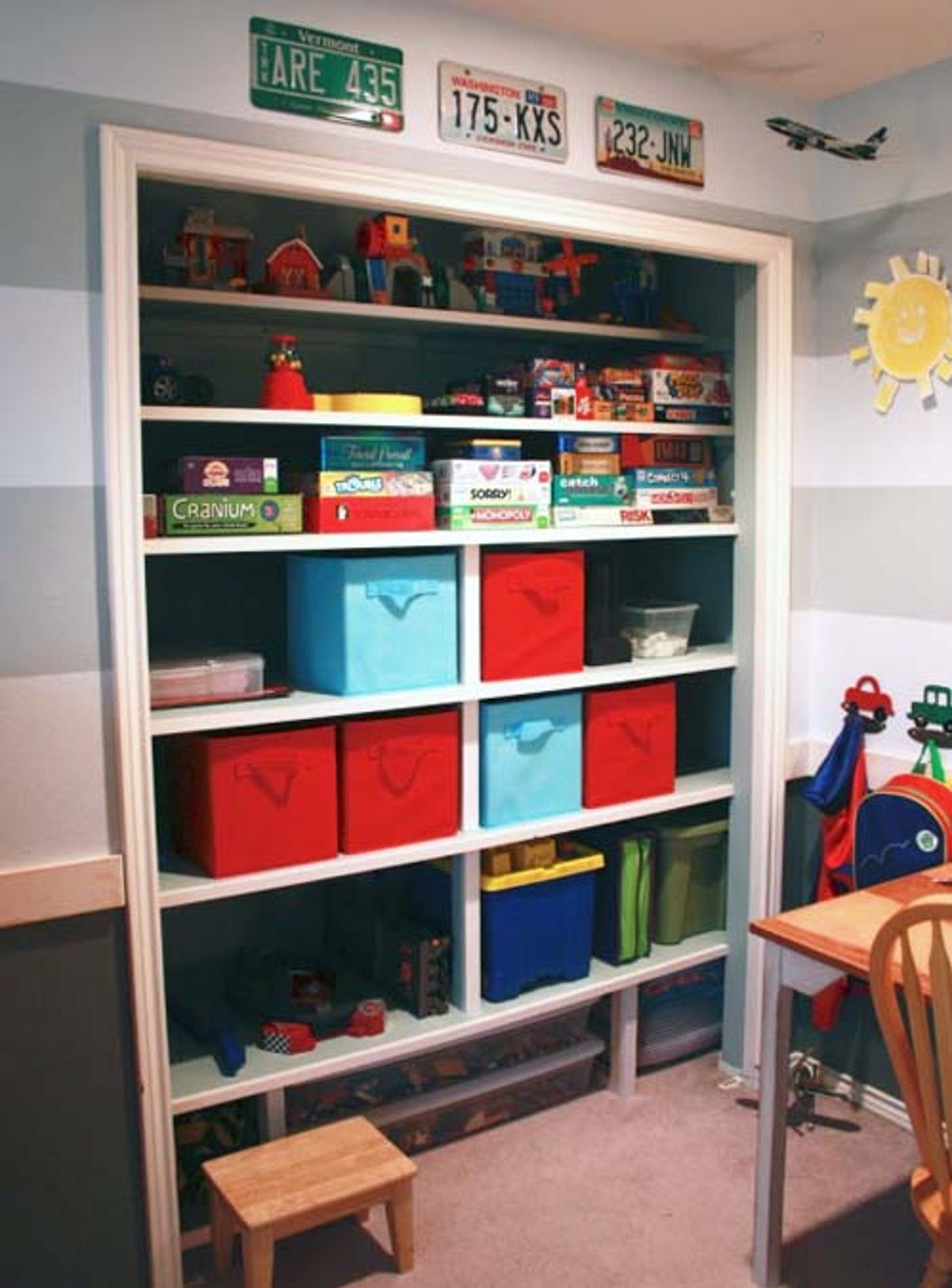 Turn Your Closet Into A Bookshelf Bedroom Organization Closet Storage Kids Room Kids Closet Organization