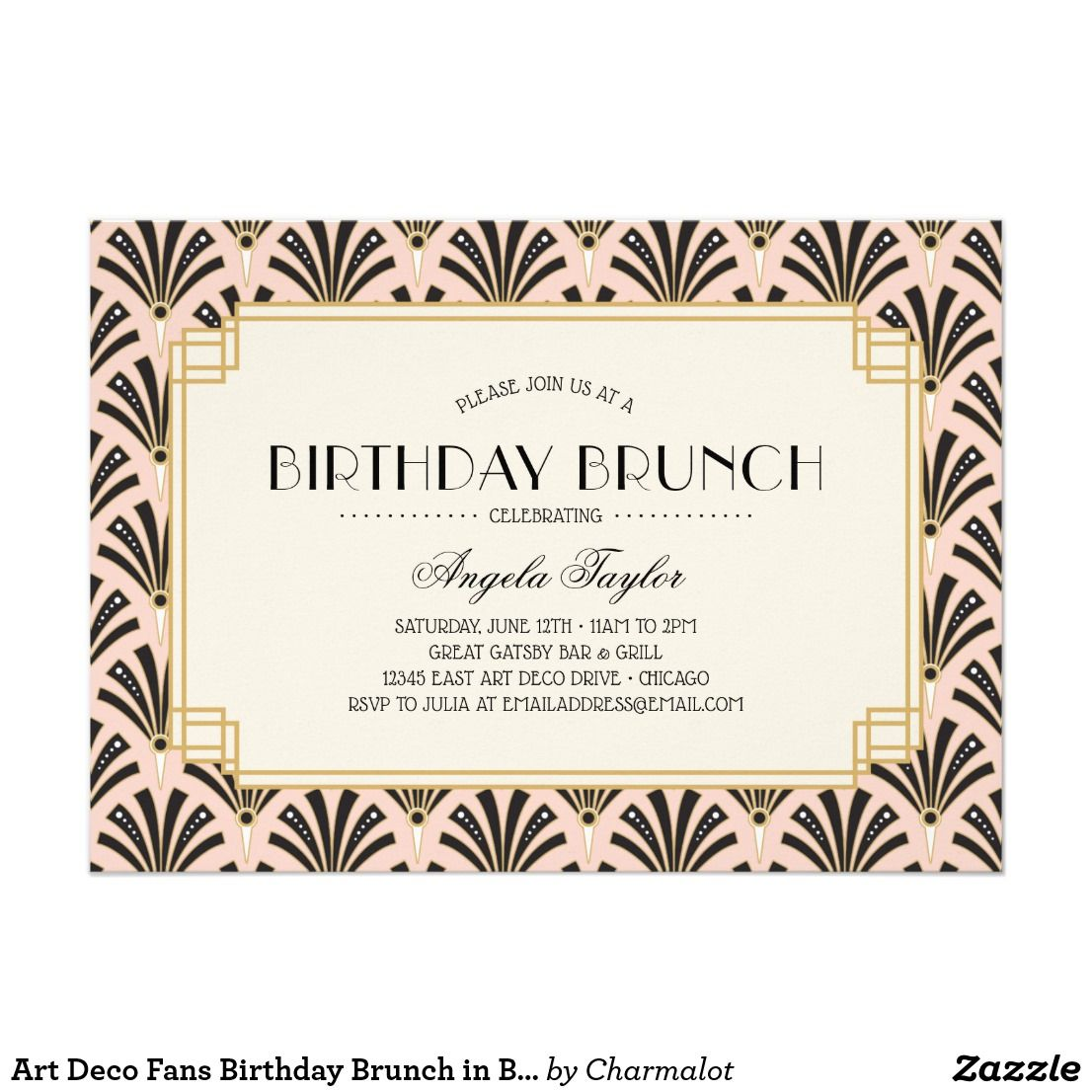 Art Deco Fans Birthday Brunch in Blush Pink Card | Stylish text ...