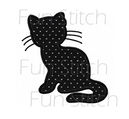Cat outline applique machine embroidery design pattern | Etsy – fabric dolls