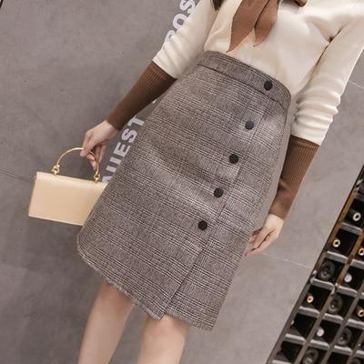 Autumn plaid knee length womens skirts 2018 winter high waist slit skirt female ladies office business buttons midi jupe femme