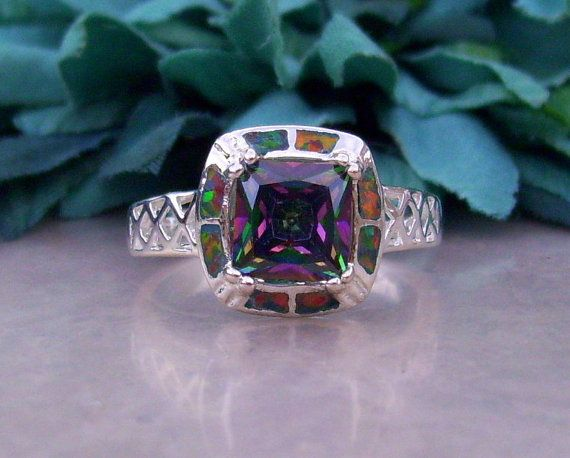 Mystic Topaz and Fire Opal ring set in Sterling Silver with Rhodium Bonding