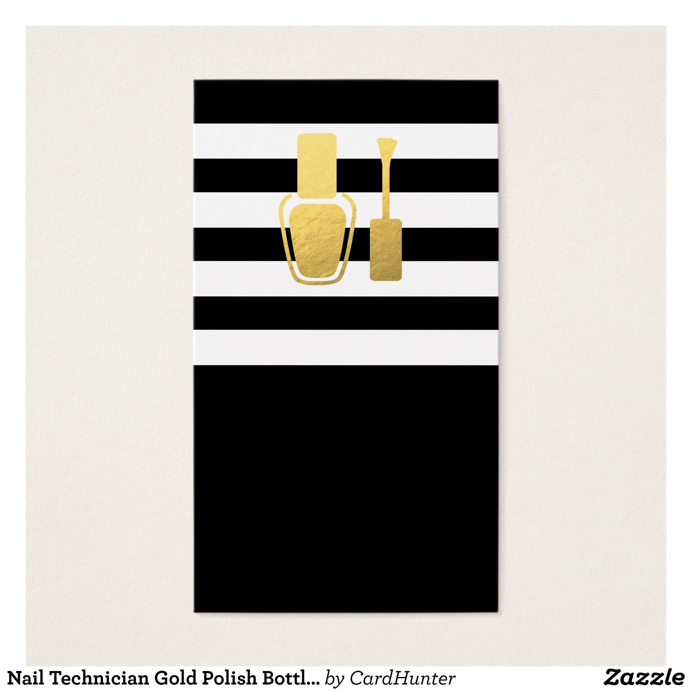 Nail technician gold polish bottle bw stripes business card nail technician gold polish bottle bw stripes business card magicingreecefo Choice Image