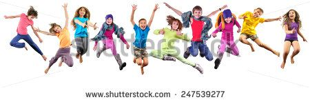 Large group of happy cheerful sportive children jumping and dancing. Isolated over white background. Childhood, freedom, happiness concept.