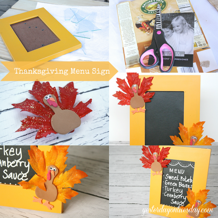 Transform a broken picture frame into a fun chalkboard Thanksgiving Menu Sign