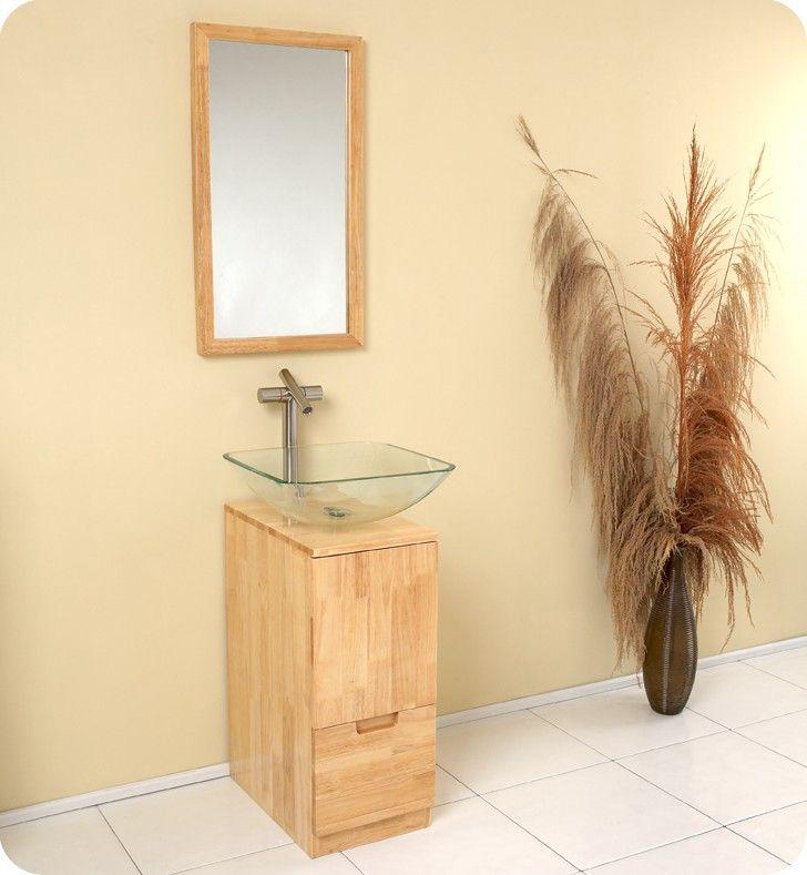 17 Inch Bathroom Vanity In Natural Wood W Mirror Brilliante Collection By Fresca