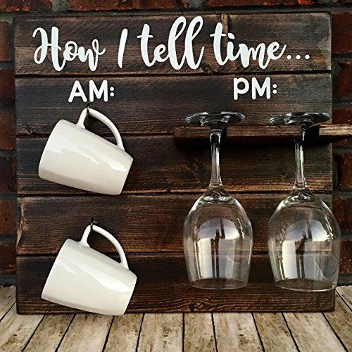how to tell time, how to tell time hanging coffee/wine rack, rustic