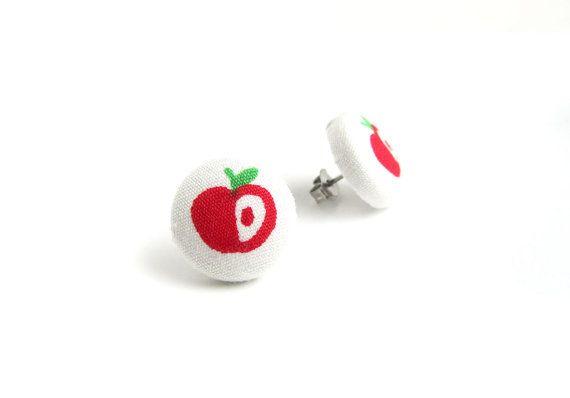 Apple button earrings  fruit stud earrings  fabric by KooKooCraft, €7.20 $9