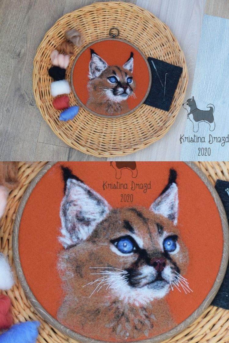 Caracal Needle felted cat portrait hoop wool picture