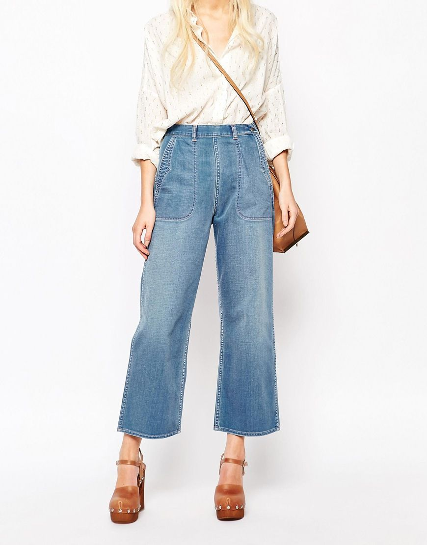 Image 1 of MiH Jeans Chambray Western Denim Culotte Jeans