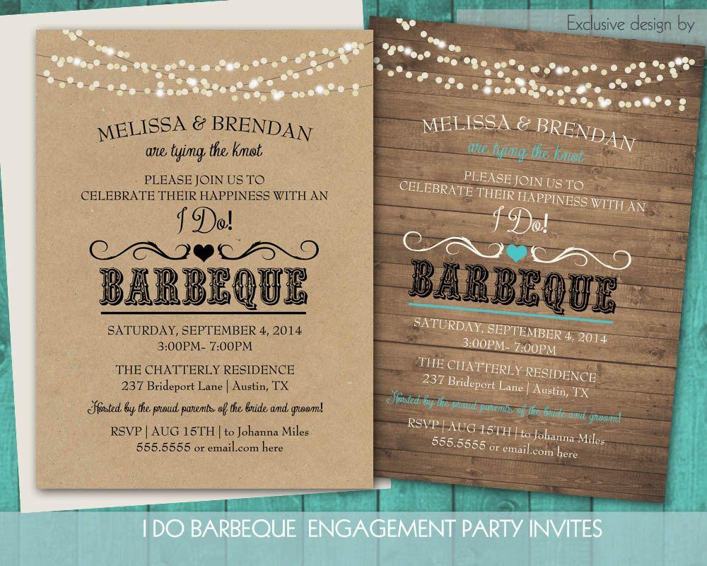 Printable I Do BBQ Wedding Reception Invitation | Wedding ...