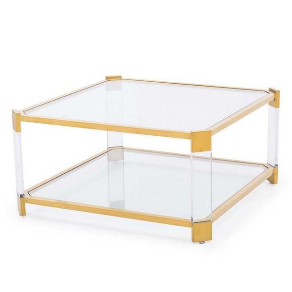 Harrison Square Acrylic And Gold Coffee Table Lucite Coffee
