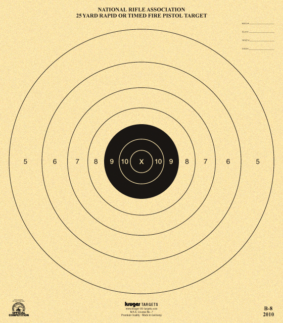 photograph about Nra B-8 Target Printable titled 25 Backyard Instant or Timed Fireplace Pistol Focus NRA B-8 Guns