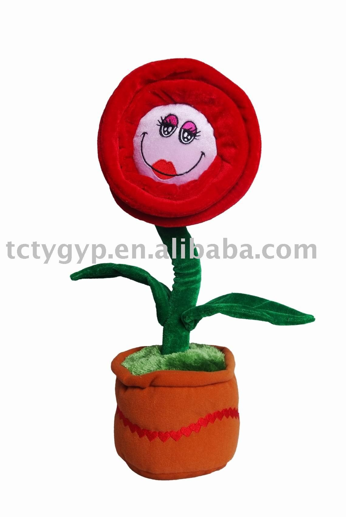 valentine 39 s day dancing and singing potted flower plush toy