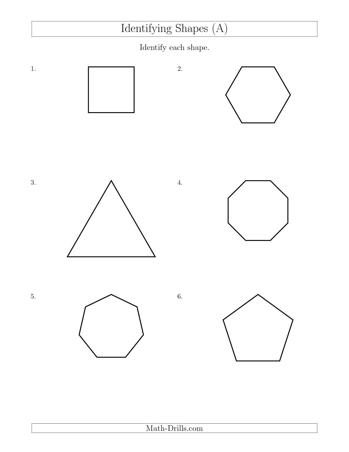 Identifying Shapes A Math Worksheet Freemath