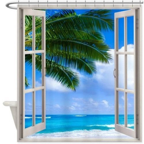 Beach Window Shower Curtain 171