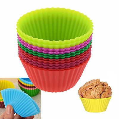 12pcs Silicone Gel Round Cake Muffin Cupcake Liner Baking Cup Mold Colorful in Home & Garden, Kitchen, Dining & Bar, Bakeware | eBay