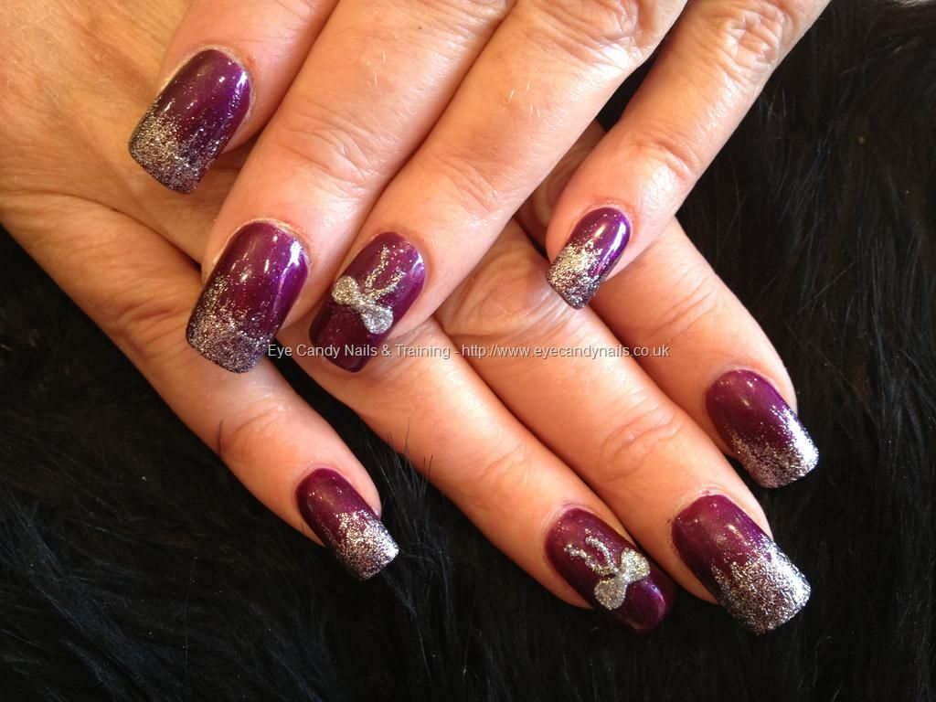 Burgundy nails with silver glitter fade and silver 3d acrylic bow ...