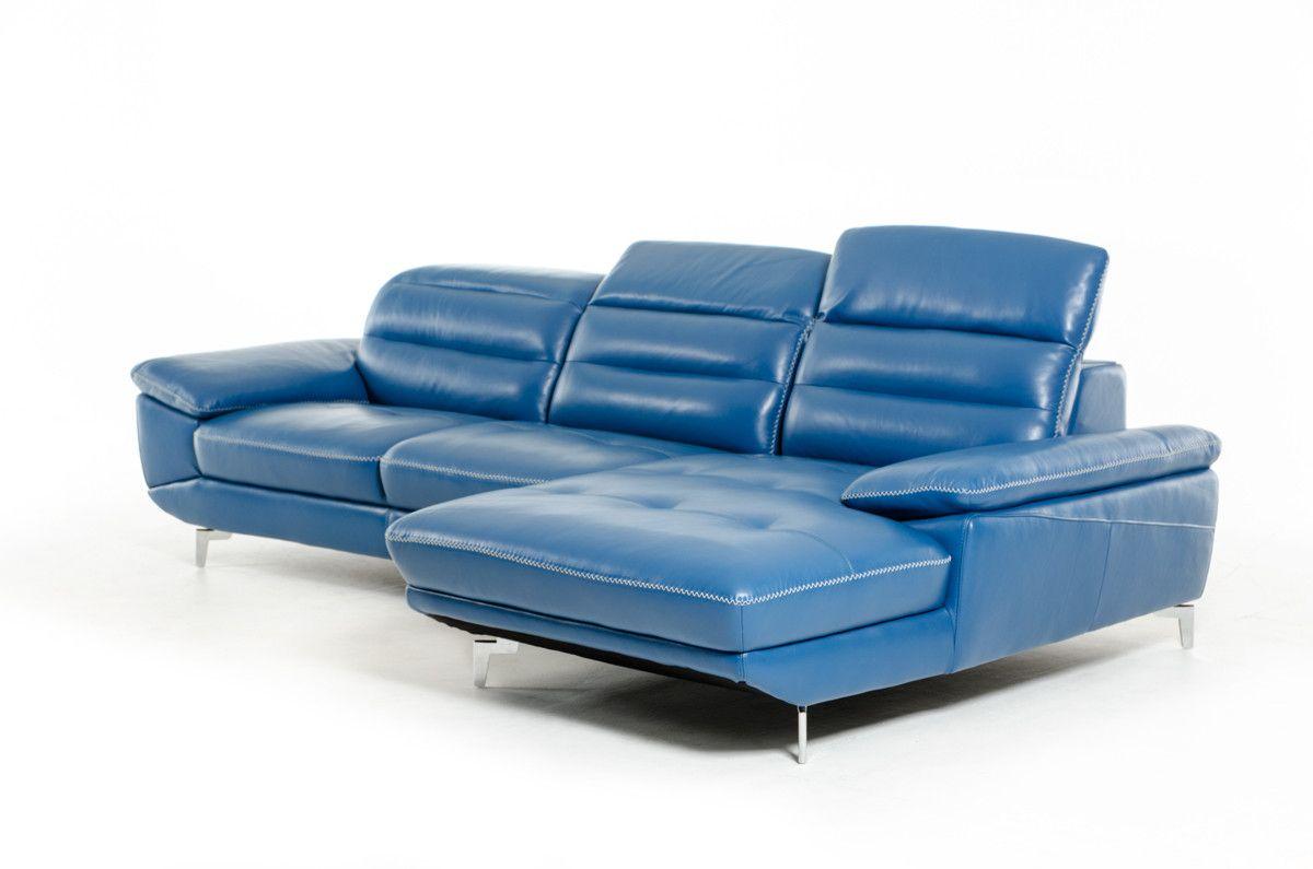 Divani Casa Hobart Modern Blue Leather Sectional Sofa