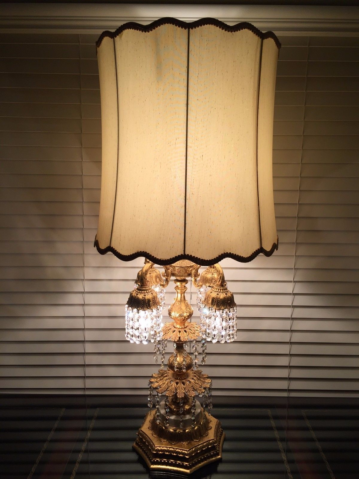 Olvega Lamp Corp French Goldplated Beaded 5 Lights Table Lamp