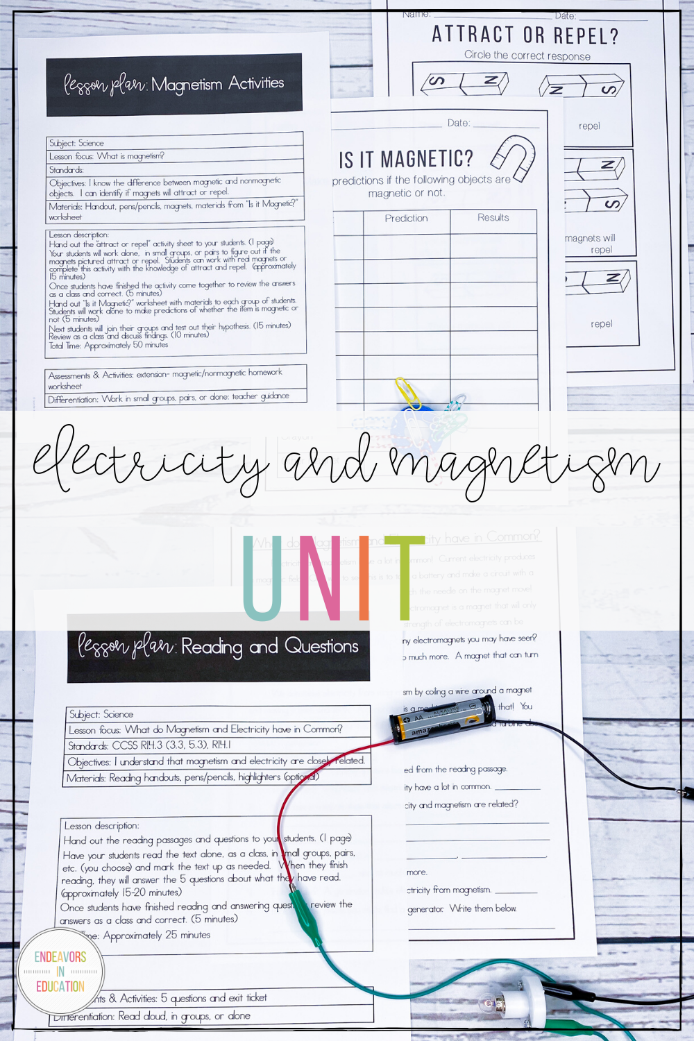 Electricity and Magnetism Worksheets and Activities in ...