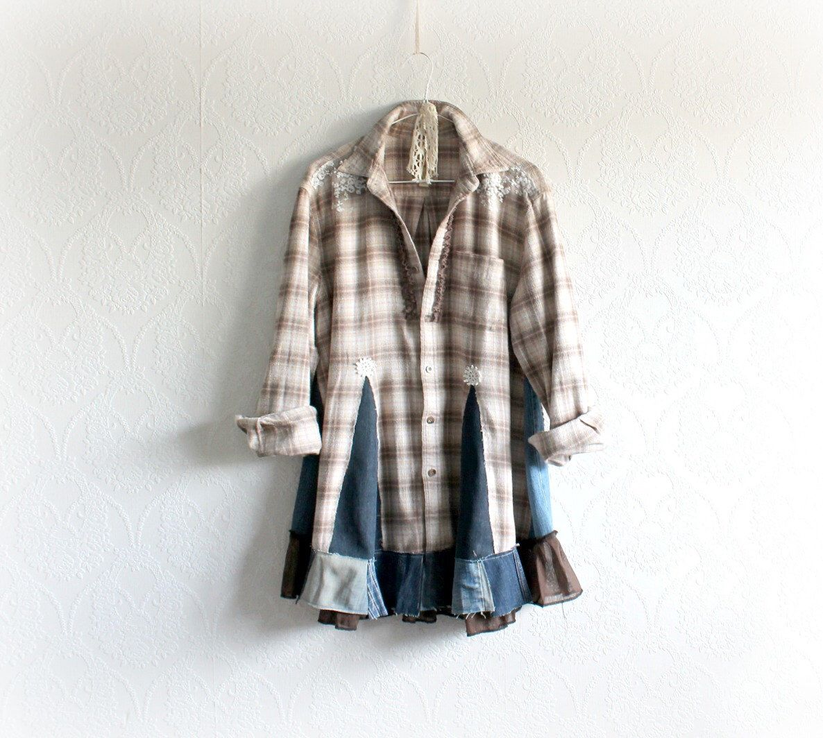 Upcycling Clothes Plaid Flannel Shirt Boho Chic Tunic Upcycled Clothing Rustic