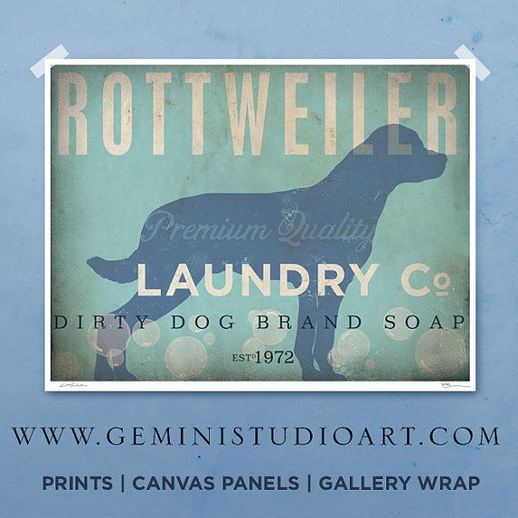 Rottweiler laundry company laundry room artwork by geministudio