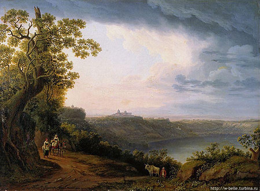 Jakob Philipp Hackert, Озеро Альбано и замок Гандольфо. Картина немецкого пейзажиста эпохи Гете.