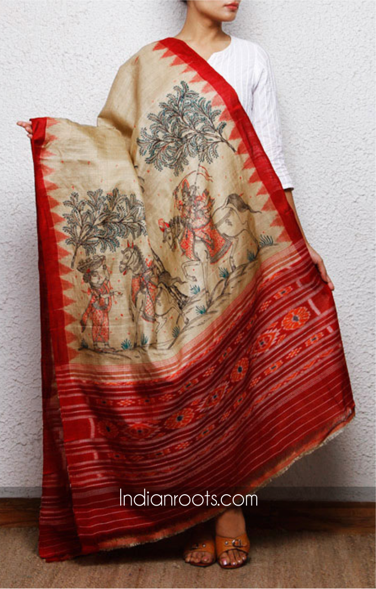 Tussar Silk Dupatta Woven On A Handloom And Featuring Hand