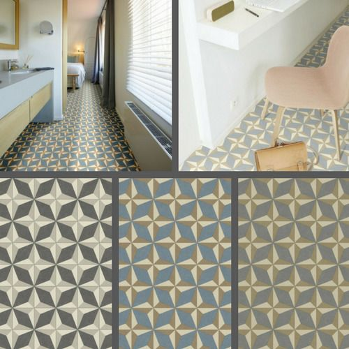 Geometric Design Vinyl Flooring Kitchen Bathroom Lino