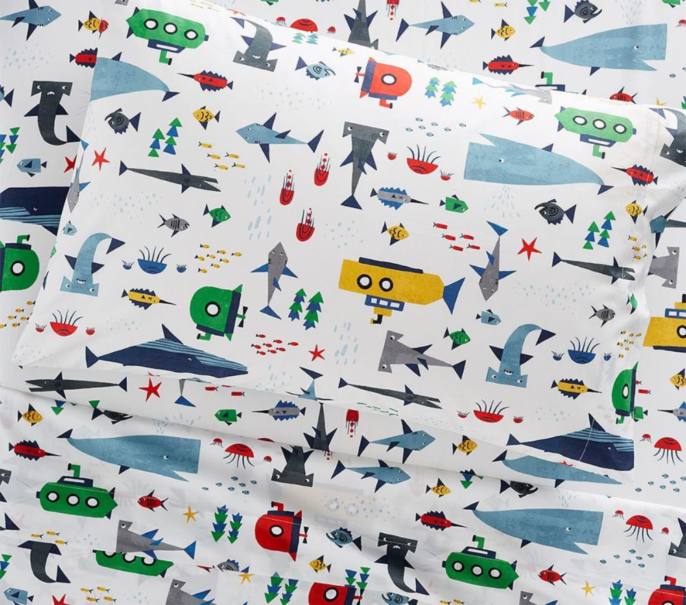 Organic Ocean Explorer Sheet Set Pottery Barn Kids AU