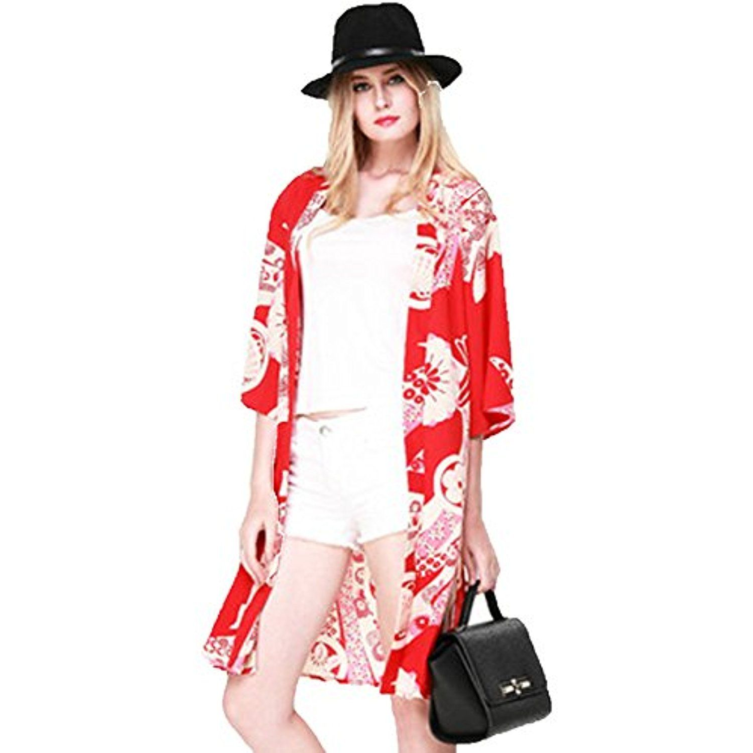 Trendy Red Floral Kimono Cardigan 3/4 Sleeve Long Beach Cover Up ...