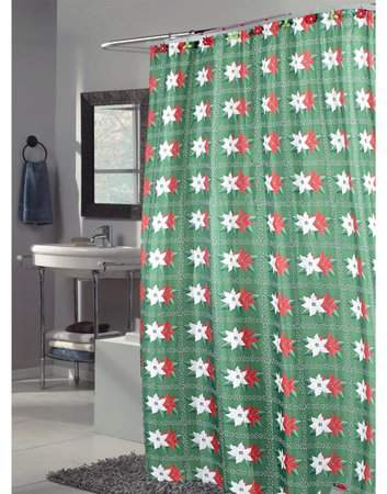 """Carnation Home Fashions /""""Deck The Halls/"""" Fabric Shower Curtain"""