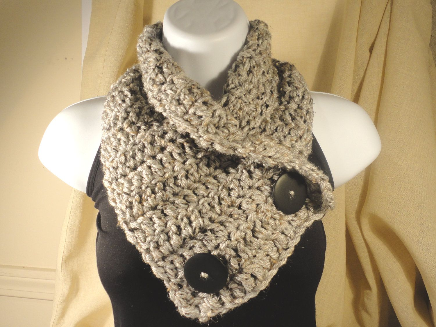Crochet Scarf Cowl Neck Warmer with Buttons Gray Grey with ...