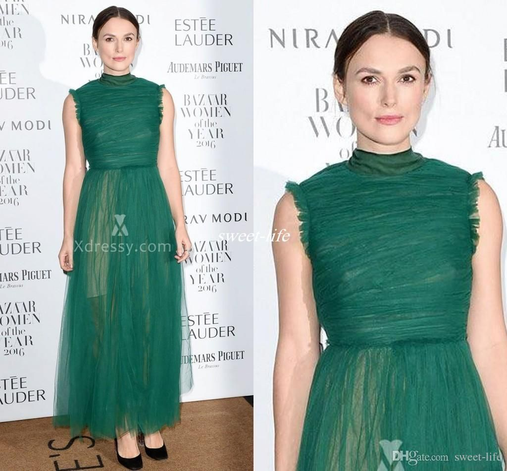 Elegant Keira Knightley Celebrity Evening Gowns High Neck Ankle Length Tulle Sleeveless Green Tulle 2016 New Prom Gowns Occasion Party Dress Celebrity Dresses Cheap Evening Dresses Online with $99.0/Piece on Sweet-life's Store | DHgate.com