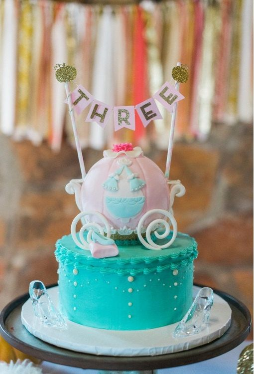 Cinderella Inspired Pink and Gold Cake Bunting Banner 1st Birthday
