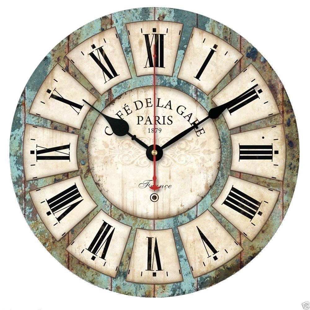 European style vintage creative round wood quartz wall clock home 1 x wall clock movementquartz movement more quiet the clock is amipublicfo Images